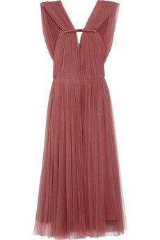 Lanvin Pleated silk-blend tulle dress   THE OUTNET