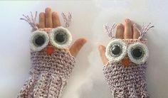 CUTE!!  .. CROCHET PATTERN Owl Fingerless Gloves for by SimpleCrochetPattern