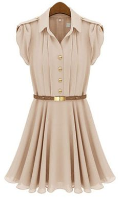 Apricot Lapel Buttons Bandeau Pleated Chiffon Dress