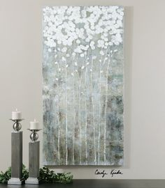 Uttermost Cotton Florals. Frameless, hand painted artwork on canvas that has been stretched and attached to wooden stretching bars.