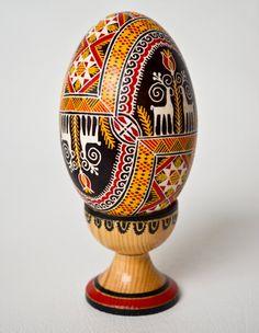 Hutsul Easter Egg Pysanka, Carpathian Embroidery with  Animal Symbols  - Real Traditional Ukrainian Goose Egg