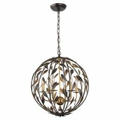 """Showcasing an openwork design with leaf accents, this bronze-hued wrought iron chandelier lends chic appeal to your foyer or dining room.  Product: Chandelier Construction Material: Wrought ironColor: Bronze and goldFeatures:  UL and cUL listedOpenwork design72"""" Chain length 120"""" Wire length Hand-painted Dry location listed  Accommodates: (6) 60 Watt bulbs - not includedDimensions: 24.5"""" H x 21"""" Diameter (pendant)"""
