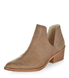 Light Brown Cut Out Ankle Boots   New Look