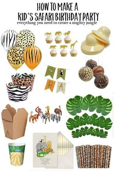 diy kid's safari birthday party It's easy to DIY a jungle-themed or safari-themed animal party for k Animal Themed Birthday Party, Jungle Theme Birthday, Wild One Birthday Party, Safari Birthday Party, 1st Boy Birthday, Boy Birthday Parties, Birthday Themes For Kids, Birthday Animals, Kids Party Themes