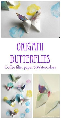 Origami Butterflies made from watercolor painted coffee filter paper