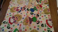 Sweet Vintage Fabric with Raggedy Ann and Andy-style Dolls  Applique