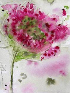 Queen Anne's Lace Floral Watercolor by RedBirdCottageArt.