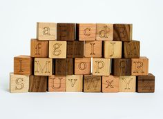 ABC Alphabet Natural Wood Blocks Set // This Classic Educational Kids Toy is Eco-Friendly, A Perfect for Montessori Learning Toy by manzanitakids on Etsy https://www.etsy.com/listing/102596534/abc-alphabet-natural-wood-blocks-set
