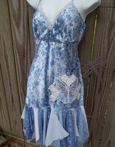 Upcycled Slip Dress Altered Refashioned Shabby by Annierosevintage, $88.00