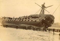 Wreck of HMS 'Foudroyant', Blackpool, 189 Plymouth, Battle Of The Nile, Hulk, Old Sailing Ships, The Last Ship, Full Sail, Abandoned Ships, Merchant Navy, Man Of War