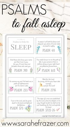 Psalms to Help You Fall Asleep – Sarah E. Frazer Do you struggle to fall asleep? These Psalms of comfort will help you fall asleep and rest in God each night. Grab these free Scripture cards to help you find comfort in God's presence. Prayer Scriptures, Bible Prayers, Faith Prayer, Prayer Quotes, Bible Verses Quotes, Faith Quotes, Spiritual Quotes, Healing Quotes, Healing Scriptures