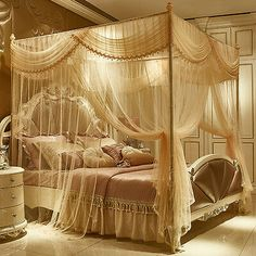Sponsored items from this on our suggestions - Sponsored items from this seller Fancy Bedroom, Royal Bedroom, Room Design Bedroom, Room Ideas Bedroom, Bedroom Bed, Bedroom Decor, Dream Rooms, Dream Bedroom, Canopy Bed Curtains