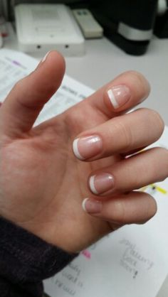 Gel nails french manicure, natural nails