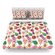 East Urban Home Garden Floral by Jane Smith Plants Bugs Featherweight Duvet Cover Size: Queen