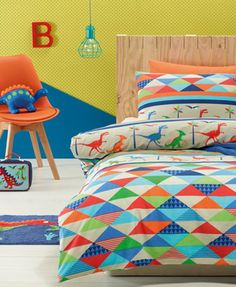 Twin bed linen for fans of dinosaurs - kids bedding dreams. Twin Bed Linen, Kids Bed Linen, Linen Bedding, Bed Linens, Duvet Cover Sizes, Bed Duvet Covers, Quilt Cover Sets, Kids Room Bed, Baby Room