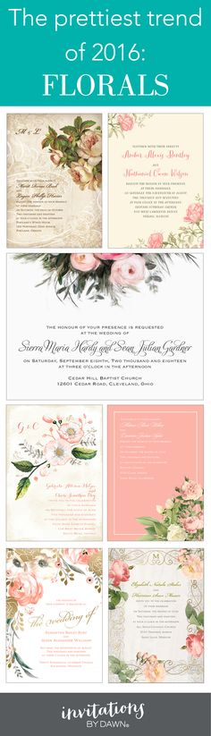 Trending now: Floral wedding invitations.