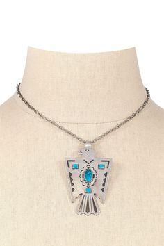 70's__Vintage__Turquoise Hawk Necklace