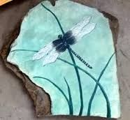 Image result for paint dragonfly on rocks