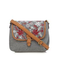 9145b0d4d8 Mantaray Grey floral embroidered dispatch bag. Jan 2018DebenhamsFloral  EmbroideryShoulder StrapInteriorStoreHandbagsIndoorTent