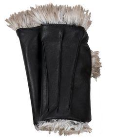 Fingerless Glove Short - Vegan Leather Black Arctic Fox Faux Fur  #pandemoniumhats #pandemoniummillinery #Seattle #WA  #handmade #madeinUSA #shopping #style #beauty #fashion #accessories #fashion #fauxfur #fingerless #gloves #mittens #drivinggloves #veganleather
