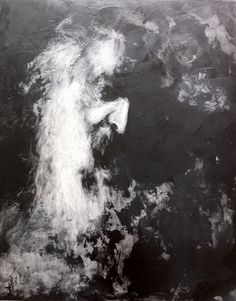 Isabelle Bonté-Hessed2 Portraits de Bachelard Réalisés en paraffine sur bois noir. Format 100 x 80 cm.