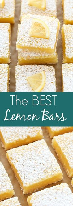 These Classic Lemon Bars feature an easy homemade shortbread crust and a sweet a., These Classic Lemon Bars feature an easy homemade shortbread crust and a sweet and tangy lemon filling. These bars are so easy to make and perfect for. Desserts Keto, Brownie Desserts, Delicious Desserts, Dessert Recipes, Yummy Food, Baking Desserts, Healthy Lemon Desserts, Good Desserts, Lemon Bars Healthy