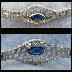 Authentic Art Deco Sterling Silver Bracelet Sapphire Rhinestone by Esemco circa 1920. Simply divine. Superb filigree in sterling and open back,