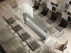 Tavolo rettangolare in acciaio inox e cristallo MONACO BIG Collezione Monaco by Cattelan Italia | design Giorgio Cattelan