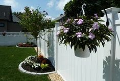 Traditional Landscape/Yard with Linden 6 ft. H x 8 ft. W White Vinyl Pro Privacy Fence Panel Kit, Trellis, Fence, Raised beds