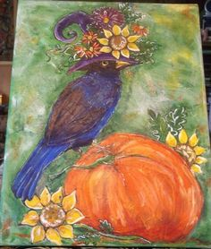 Original Acrylic Painting Art #Pumpkin Black #Bird Fall #Halloween Sunflowers Gina | eBay