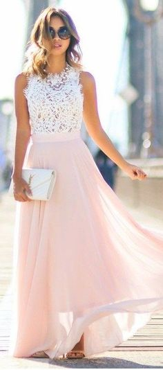 #spring #fashion | White Lace Top + Blush Maxi Skirt | Lace
