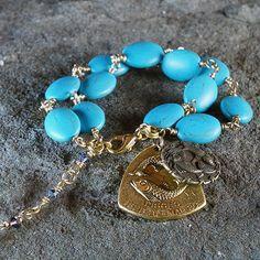 Pisces Turquoise Double Zodiac Pendant Bracelet by James Murray  #JamesMurray  #Zodiac #Pisces  www.JamesMurrayJewelry.com