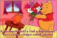 Winnie The Pooh, Happy Birthday, Disney Characters, Pink, Happy Aniversary, Happy Brithday, Rose, Urari La Multi Ani, Pooh Bear