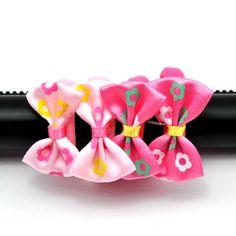 4pcs Girls Flower Ribbon Bowknot Ponytail Holder Elastic Hair Accessories B14 #Hongfeng