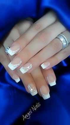 Image via 45 Chic White Nails Art Designs to try in 2015 Image via 100 Delicate wedding nail ideas. Like these fancy Silver and gem wedding nails. Image via 50 simple nail art des French Nails, French Manicures, Gorgeous Nails, Pretty Nails, Valentine's Day Nail Designs, Bride Nails, Wedding Nails Design, Nagel Gel, Creative Nails