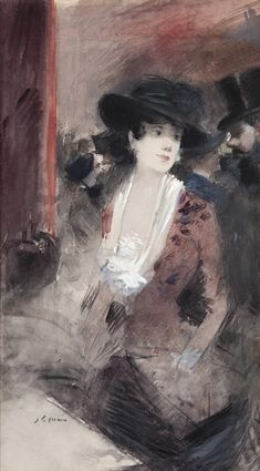 Jean-Louis Forain (French, Au foyer du théâtre [In the theatre foyer], Watercolour and gouache on paper, x cm. Jean Leon, Edgar Degas, Global Art, Belle Epoque, Photos, Pictures, Art Market, Logs, Art Day