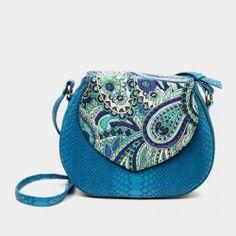 Plain Blue Gardenia Sling Bag http://www.tadpolestore.com/ #bags #fauxsnakeskin #satin #sling #trendy #colorful #black #messenger #blue #floral