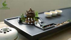 Black Stone Zen Tea Tray Wtih Pavilion And Brook Chinese Tea Room, Chinese Tea Set, Asian Tea Sets, Tea Etiquette, Zen Tea, Tea Display, Dream Tea, Food Carving, Tea Design