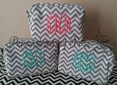 Grey and White Chevron Monogrammed Makeup by PersonalizedbyPriss, $100.00