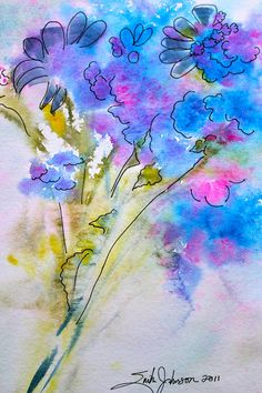 Original Art Abstract Blue Water Color Flowers by Mississippi Artist Erika Johnson 9 x 12 inches (228.6 x 304.8mm). $54.00, via Etsy.