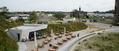 In the dunes between The Hague and Scheveningen at the entrance of the water company Dunea, an Water Company, The Dunes, Entrance, Grass, Concrete, Restaurant, Patio, Mansions, House Styles
