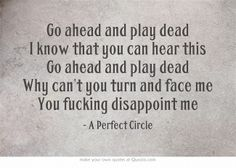 A Perfect Circle - Passive. I love this song soooo much, and it makes me love the movie Constantine more then I already do! Tool Lyrics, Great Song Lyrics, Music Lyrics, Love Songs, Music Is Life, My Music, Lyric Quotes, Me Quotes, Frases
