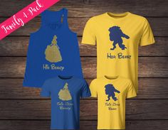 ♥WELCOME TO OUR SHOP!♥ Thank you so much for visiting Rustic Peach Designs! ♥ ♥ Listing Details ♥ This listing is for matching family shirts. This listing includes FOUR matching family shirts. ♥ 1 - Womens Bella Canvas Flowy Racerback Tank (royal blue color) with a Belle silhouette and the words His Beauty in non-flake gold glitter vinyl (also available in a ladies t-shirt, unisex t-shirt or v-neck). 1 - Mens Gildan Ultra Cotton Adult T-Shirt (yellow color) with a Beast silhouette and th...