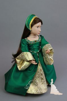 CUSTOM ORDER. 5-piece Emerald green Tudor gown for A Girl for All Time dolls