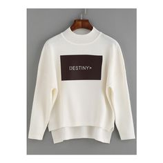 SheIn(sheinside) White Letter Patch Dip Hem Sweater ($19) ❤ liked on Polyvore featuring tops, sweaters, white, white sweater, loose pullover sweater, graphic sweaters, white pullover and sweater pullover