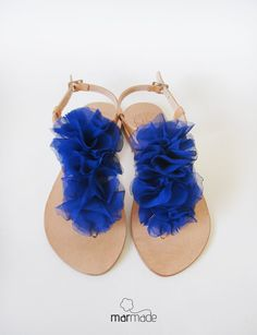 Leather Sandals with Blue Textile decoration by MyMarmade on Etsy, €42.00
