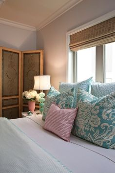 pretty!   love the lamp!    bedrooms - Benjamin Moore - Classic Gray - bedroom bed Aqua bedding lamps screen  Emily Ruddo - guest bedroom