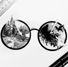 Harry Potter and Hogwarts. Click the image, for more art by Suravi Sengupta. Tatto Harry Potter, Harry Potter Sketch, Harry Potter Journal, Harry Potter Painting, Harry Potter Artwork, Images Harry Potter, Harry Potter Drawings, Harry Potter Wallpaper, Fantasy Drawings