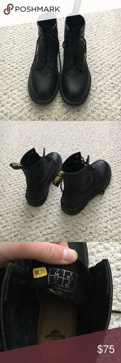 Pair of black Doc Martens boots. Size 8 M Size 9W Very trendy style Doc Martens boots for sale. Waterproof, great for rain and snow, as well as very stylish. Unisex boots. Couple scuffs, worn for 1 month. Selling because too small on me! Love these boots. Doc Martens Shoes Boots