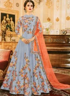 DESIGNER Salwar Kameez Suit Traditional Anarkali Indian Dress Bollywood for sale online Designer Salwar Kameez, Designer Anarkali, Designer Gowns, Indian Designer Wear, Silk Anarkali Suits, Long Anarkali, Anarkali Gown, Silk Lehenga, Eid Dresses